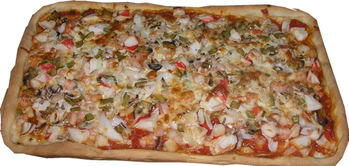 Traditional Seafood Sicilian Style Pizza